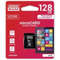 Goodram microSDHC 128GB Class 10, M1AA-1280R11, Memóriakártya (+Adapter)