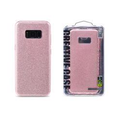 Samsung G955 Galaxy S8 Plus, Szilikon tok, Remax (Csillámos), rózsaszín