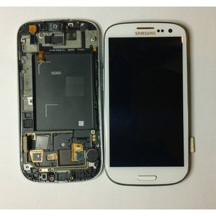 Samsung i9300 Galaxy S3, LCD kijelző érintőplexivel és előlappal, fehér