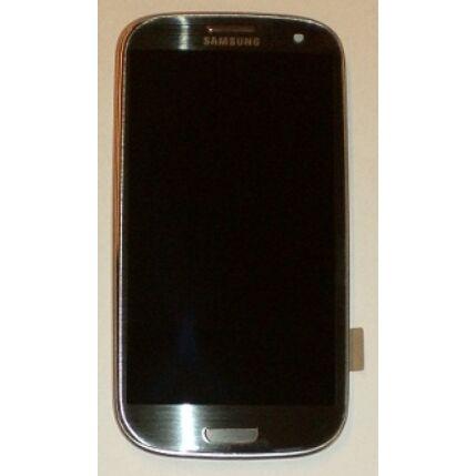 Samsung i9300 Galaxy S3, LCD kijelző érintőplexivel és előlappal, szürke