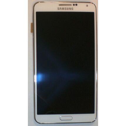 Samsung N9005 Galaxy Note 3, LCD kijelző érintőplexivel és előlap kerettel, fehér