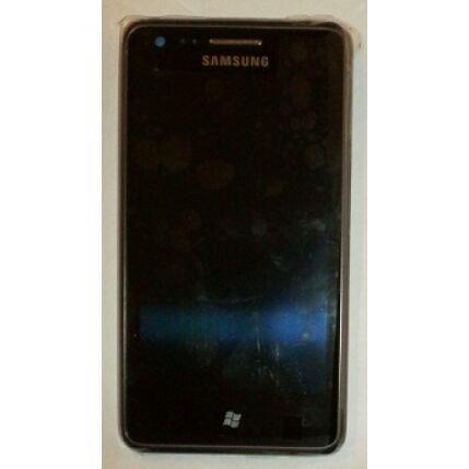 Samsung S7530 Omnia M, LCD kijelző érintőplexivel és előlappal, fekete
