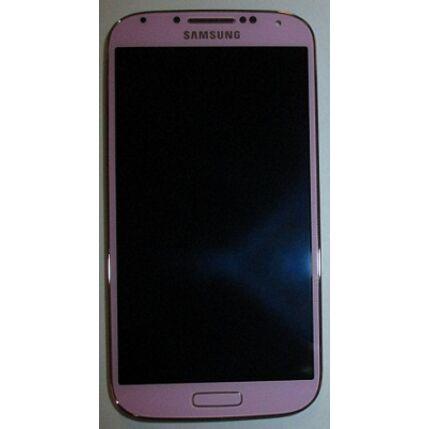 Samsung i9500 Galaxy S4, LCD kijelző érintőplexivel és előlappal, rózsaszín-arany