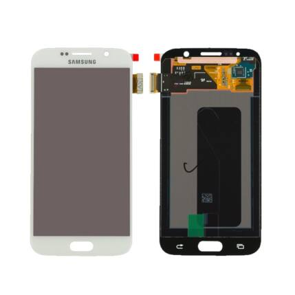 Samsung G920 Galaxy S6, LCD kijelző érintőplexivel, fehér