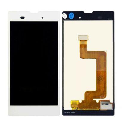 Sony Xperia T3 D5102/D5103/D5106, LCD kijelző érintőplexivel és előlappal, fehér