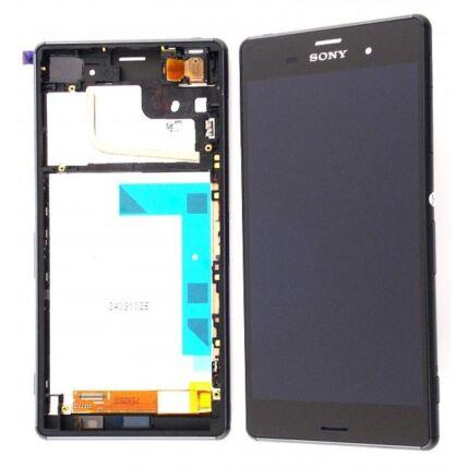 Sony Xperia Z3 D6603/D6643/D6653, LCD kijelző érintőplexivel és előlappal, fekete