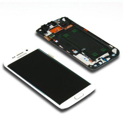 Samsung G925 Galaxy S6 Edge, LCD kijelző érintőplexivel és előlappal, fehér