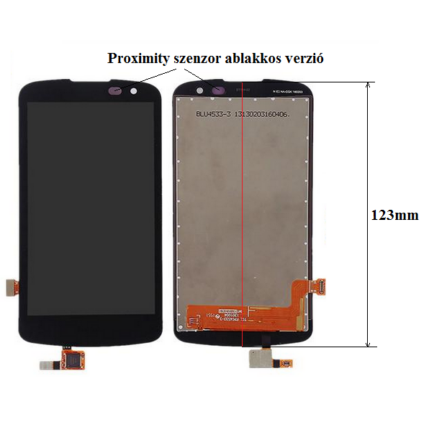 LCD kijelző, LG K120 K4, K100 K3 érintőplexivel (1-es verzió), fekete