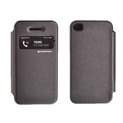 Oldalra nyíló flip tok, Apple iPhone 4, Techno - fekete