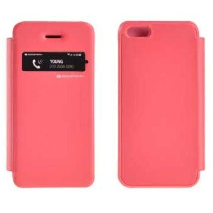 Oldalra nyíló flip tok, Apple iPhone 5, EasyView - rózsaszín