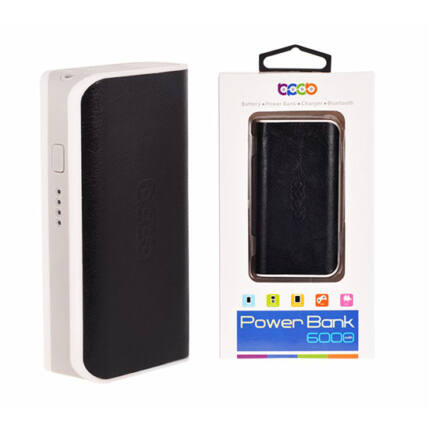 Külső akkumulátor,  6000mAh, fekete Power Bank