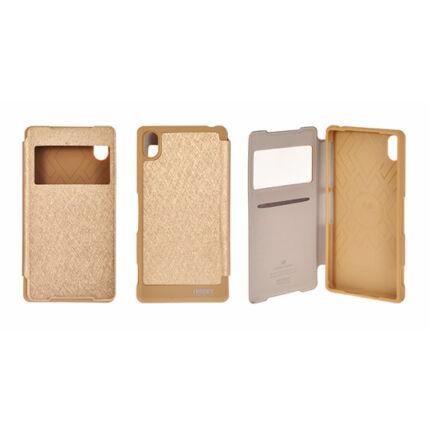 Oldalra nyíló flip tok, Apple iPhone 5G, Ablakos - arany