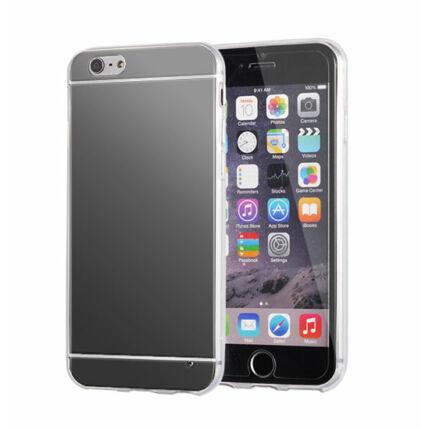 Szilikon tok, Apple iPhone 6, 6S, Tükrös - fekete