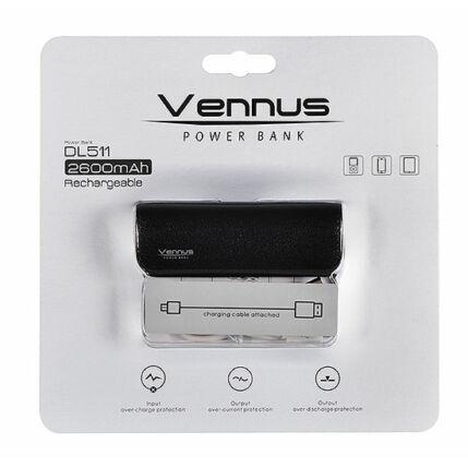 Külső akkumulátor,  2600mAh, fekete Vennus DL511