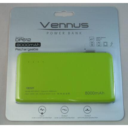 Külső akkumulátor,  8000mAh (microUSB + iPhone), zöld Vennus