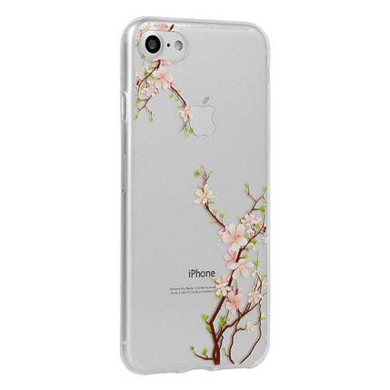 Szilikon tok, Apple iPhone X, Floral - Cherry