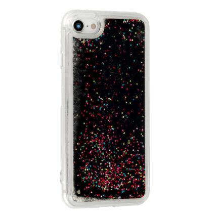 Szilikon tok, Apple iPhone 6, 6S, Liquid (Csillámos) - fekete
