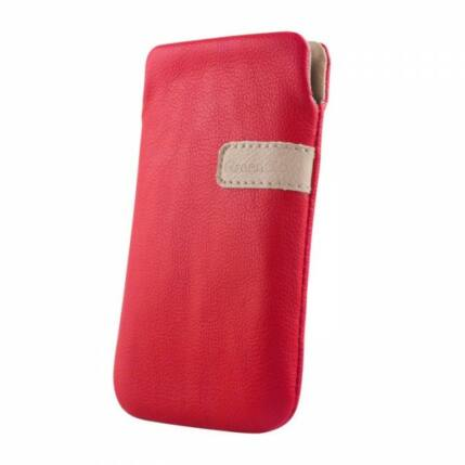 Álló bőr tok, (XL) Samsung S5830, piros