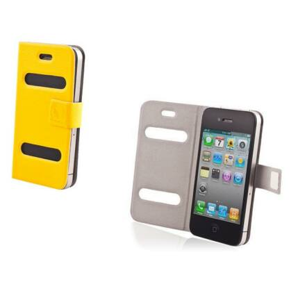 Oldalra nyíló flip tok, Apple iPhone 4, Smart - sárga
