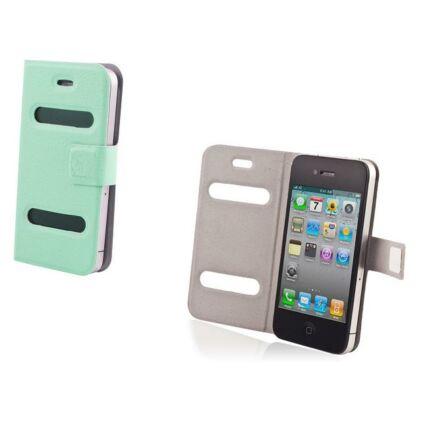Oldalra nyíló flip tok, Apple iPhone 4, Smart - kék