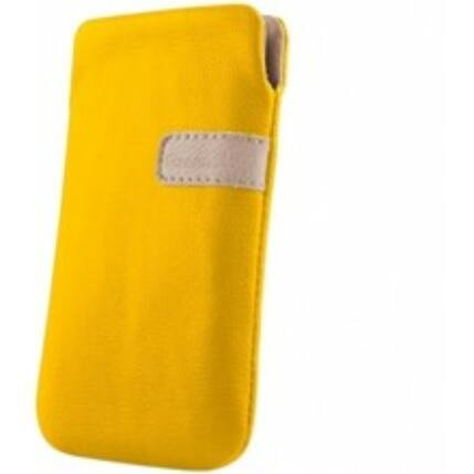 Álló bőr tok, (XL) Samsung S5830, sárga