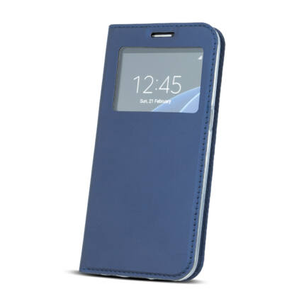 Oldalra nyíló flip tok, Apple iPhone 6, 6S, Ablakos - kék