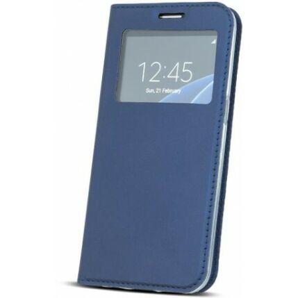Oldalra nyíló flip tok, Samsung G930 Galaxy S7, Ablakos - kék