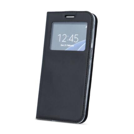Oldalra nyíló flip tok, Huawei Mate 20 Lite, Ablakos - fekete