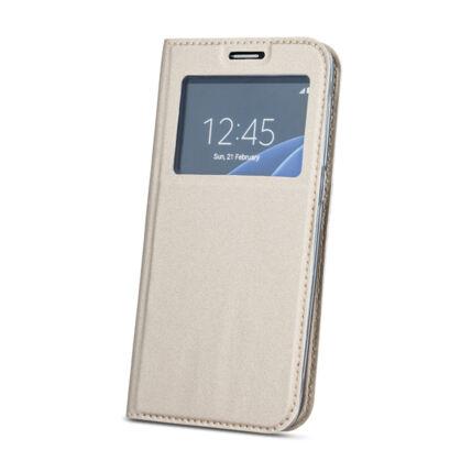 Oldalra nyíló flip tok, Huawei Mate 20 Lite, Ablakos - arany