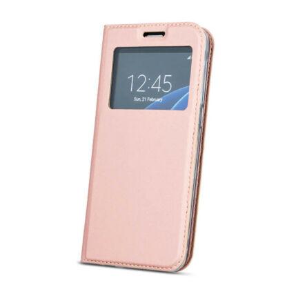 Oldalra nyíló flip tok, Huawei Mate 20 Lite, Ablakos - rose gold
