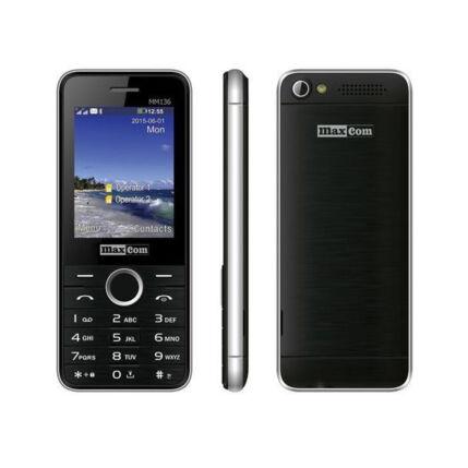 Mobiltelefon, MaxCom MM 136 DualSIM, fekete-ezüst