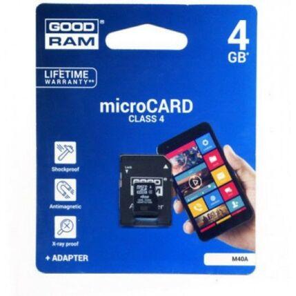 Memóriakártya, MicroSD  4GB (Goodram) + adapter