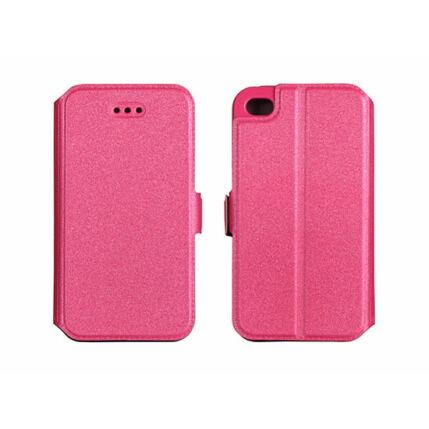 Oldalra nyíló flip tok, Apple iPhone 4, Book - rózsaszín